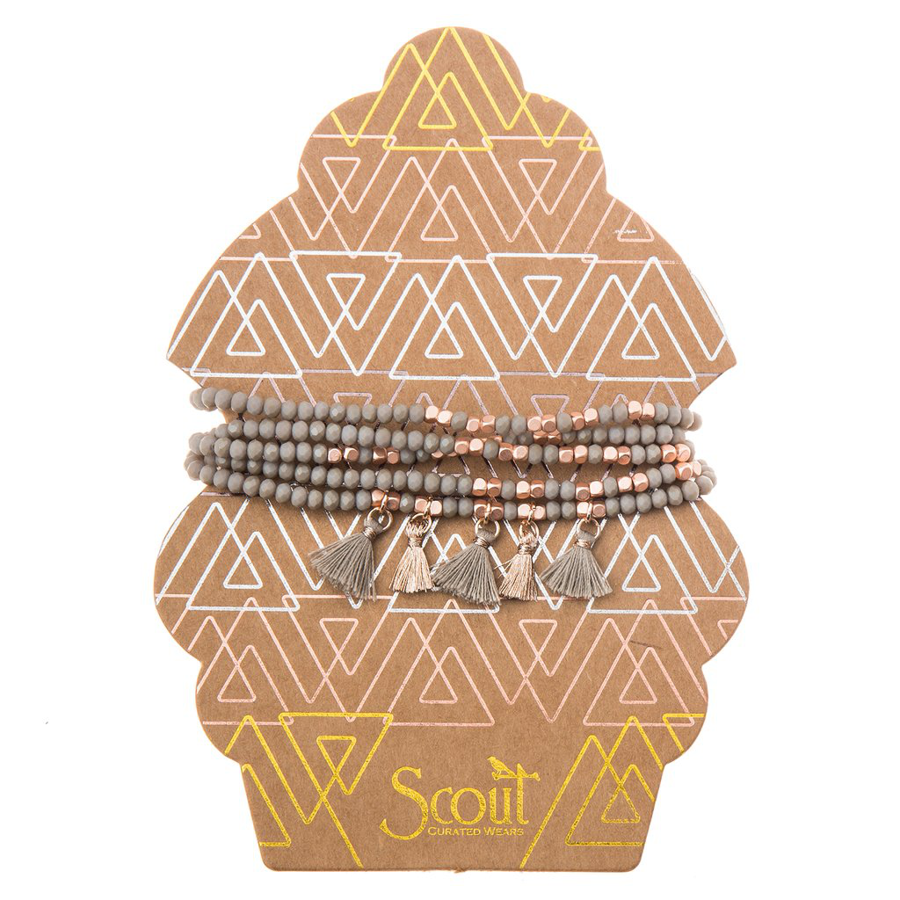 Scout Curated Wears - Tassel Wrap - Taupe and Rose Gold