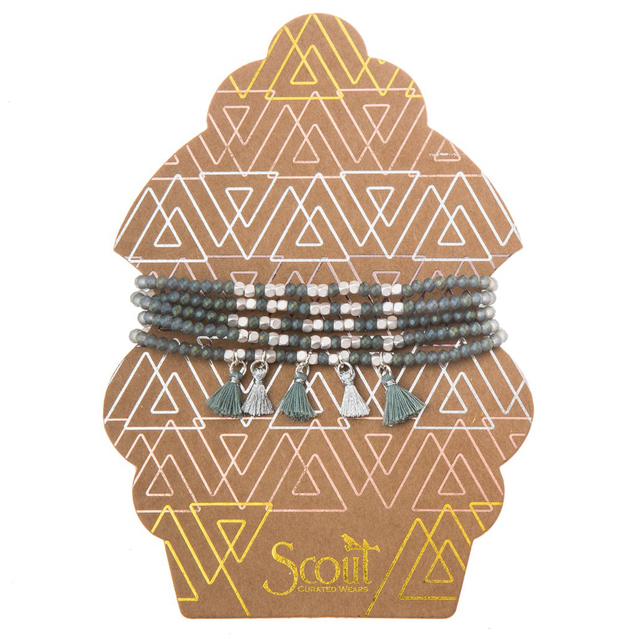 Scout Curated Wears - Tassel Wrap - Mineral and Silver
