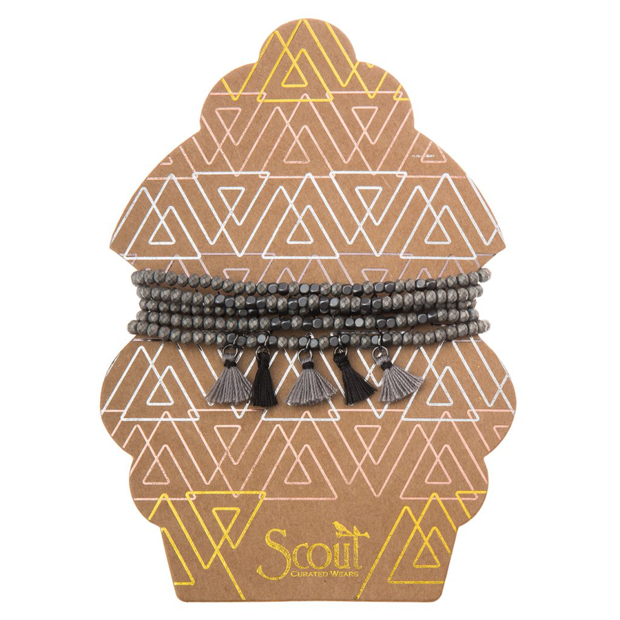 Scout Curated Wears - Tassel Wrap - Gunmetal and Silver
