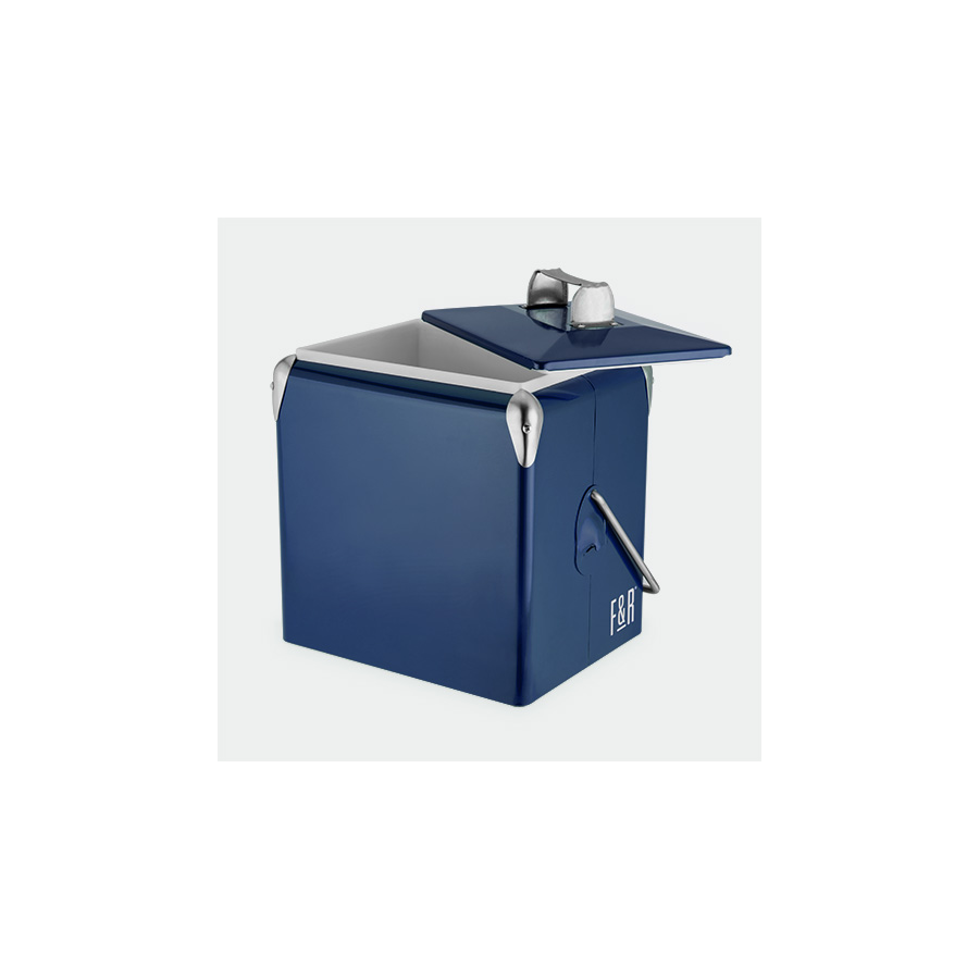 True Brands - Vintage Metal Cooler - Blue