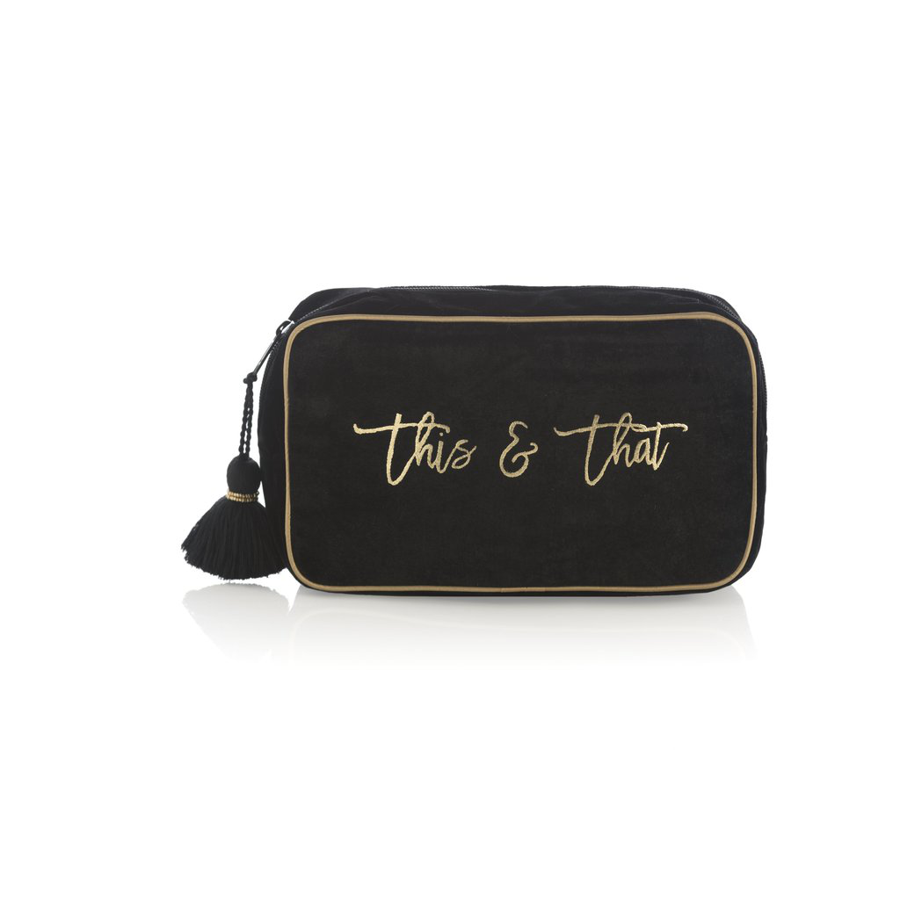 Shiraleah - Cosmetic Pouch - Black and Gold