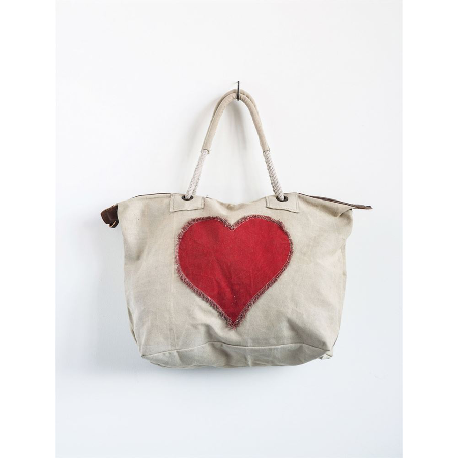 Creative Co-Op - Canvas Tote Bag - Heart