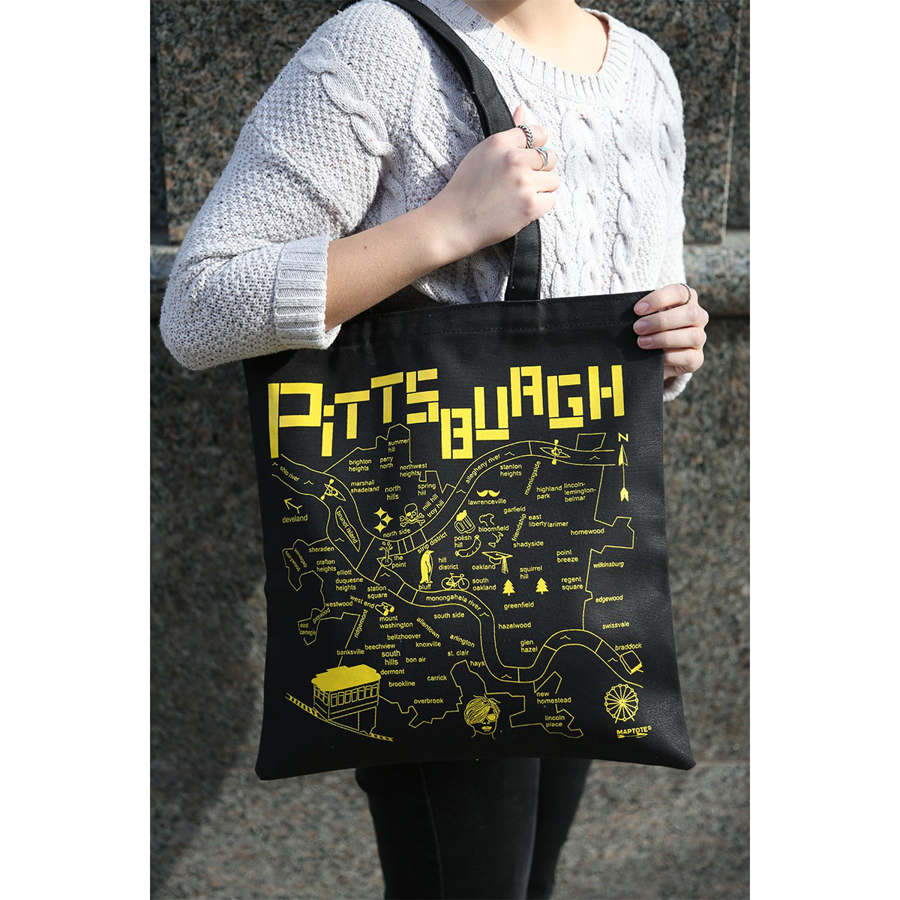 Image For Maptote - Pittsburgh - Black - Everyday Tote