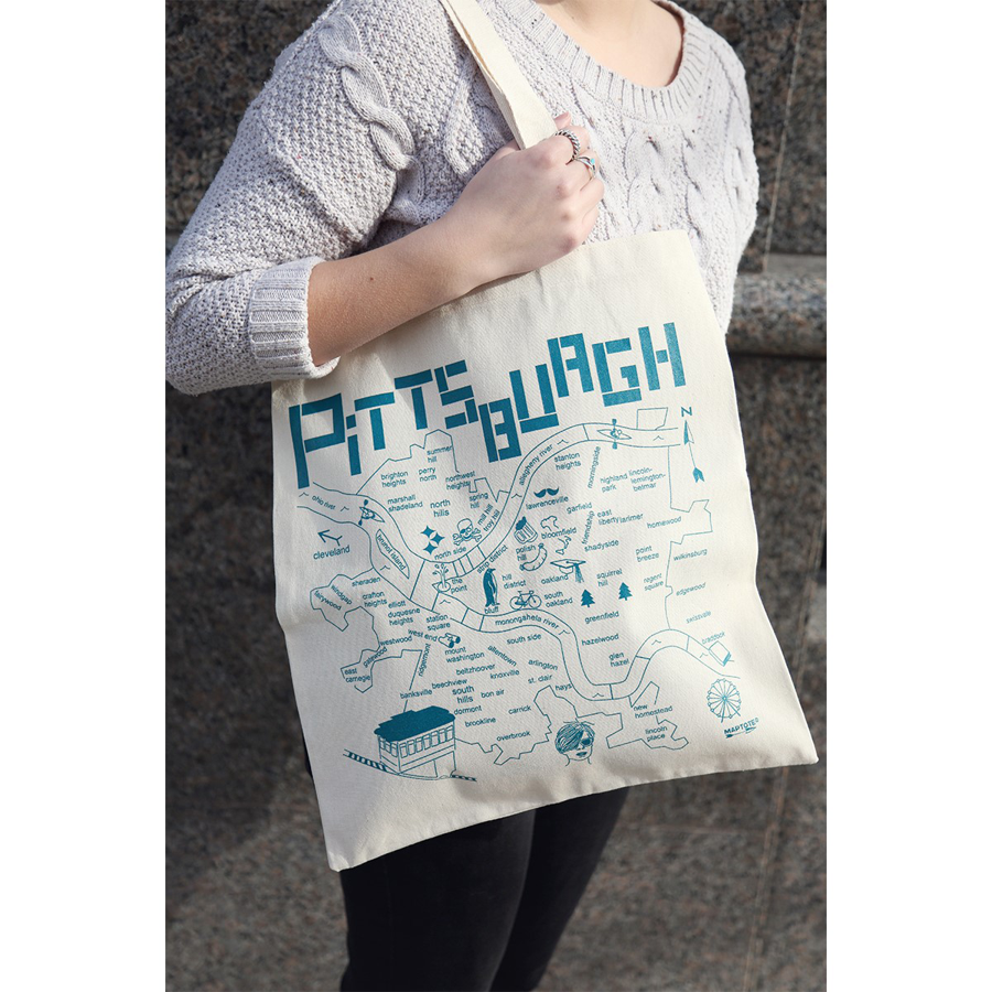 Image For Maptote - Pittsburgh - White - Grocery Tote