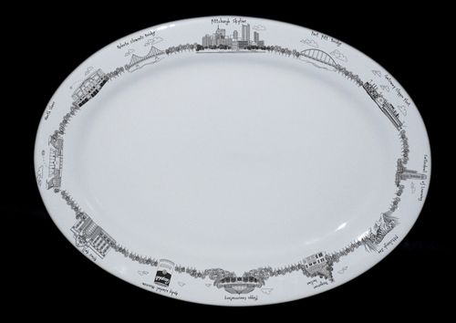 Image For The Dish - Large Oval Plate - Pittsburgh Skyline