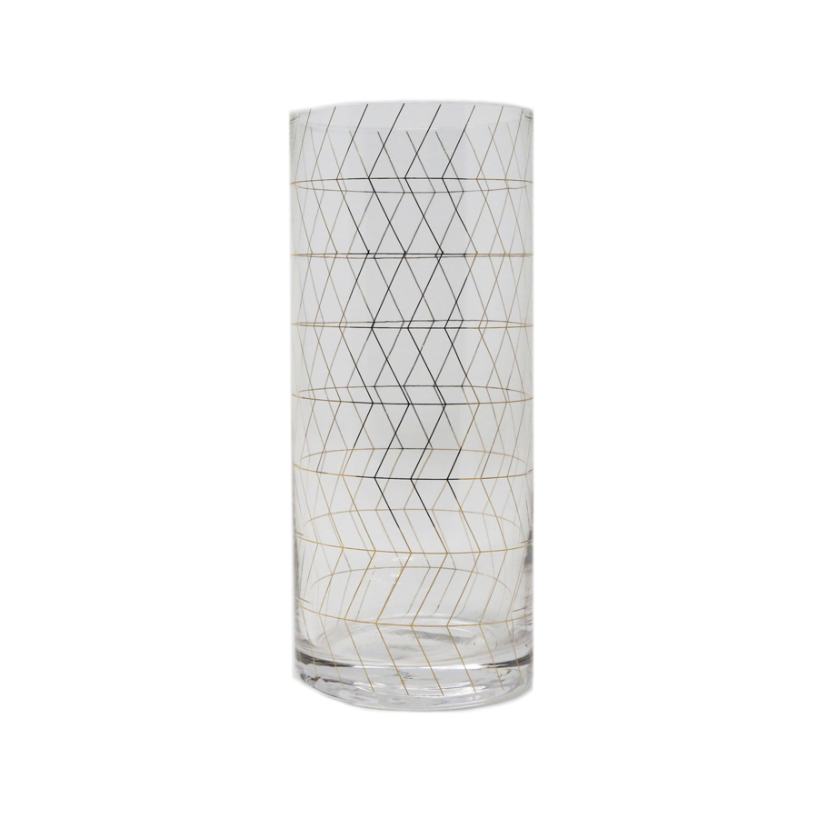 Image For Bloomingville - Tall Drinking Glass - Gold Geometric