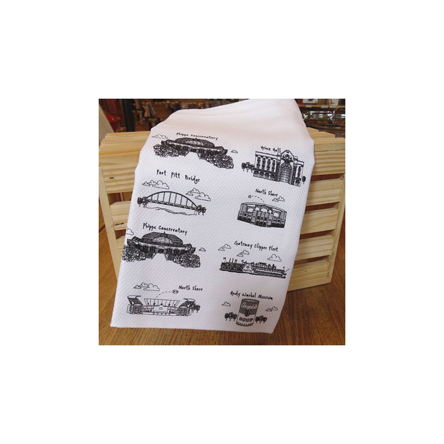 Image For The Dish - Pittsburgh Bridges Towel - Black Illustrations