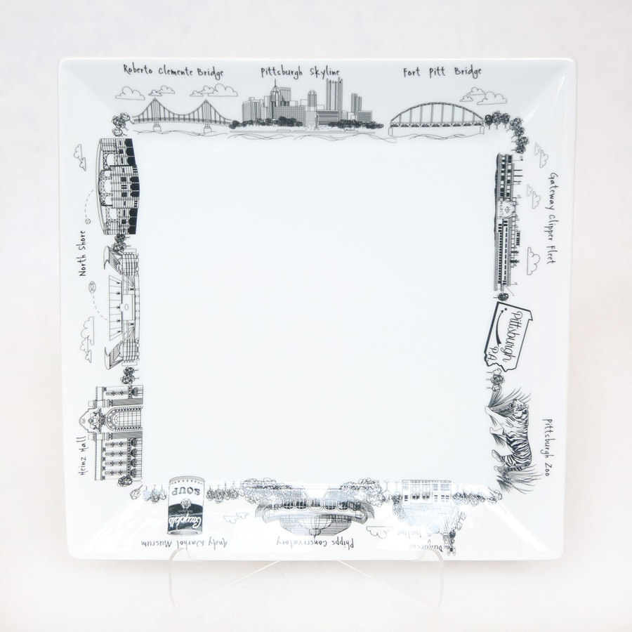 Image For The Dish - Small Square Plate - Pittsburgh Landmarks