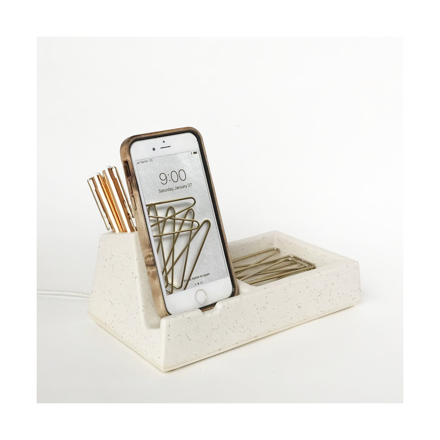 Image For Stak Ceramics - Phone Dock - Suede Speckle