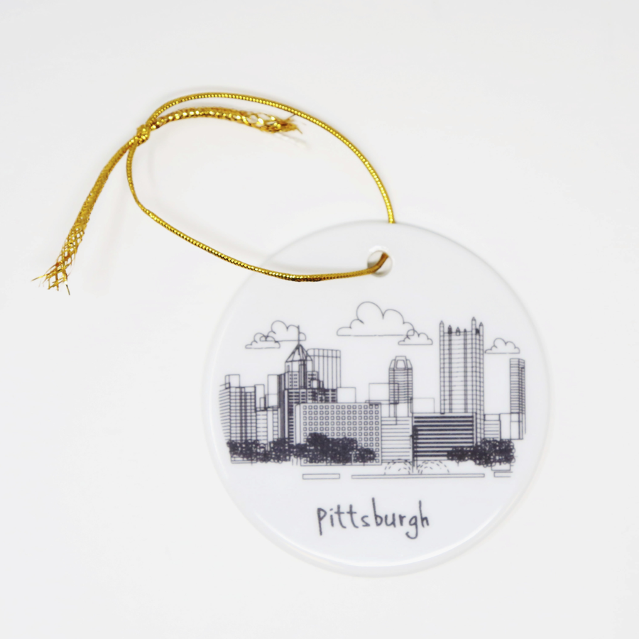 Image For The Dish - Pittsburgh Skyline - Flat, Round Ornament