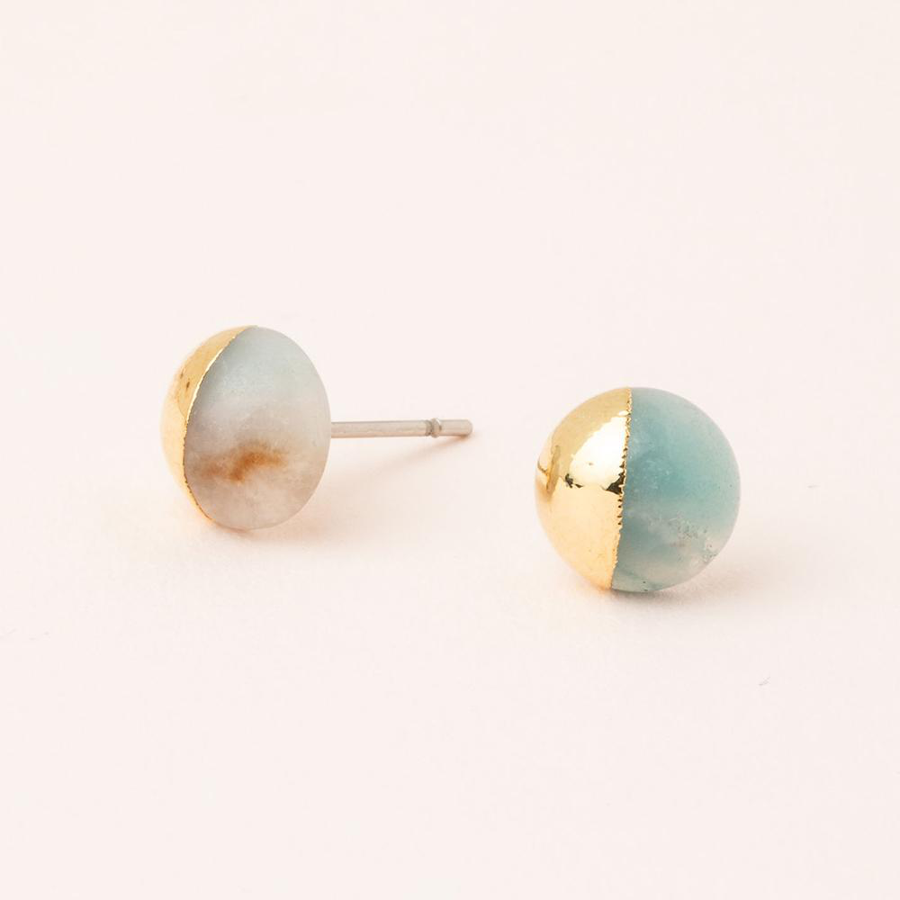 Image For Scout Curated Wears - Stone Stud - Amazonite and Gold