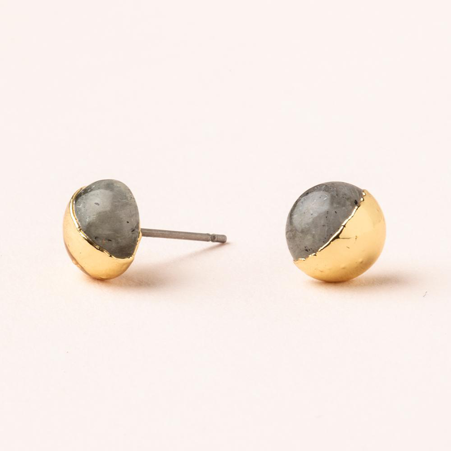 Image For Scout Curated Wears - Stone Stud - Labradorite and Gold