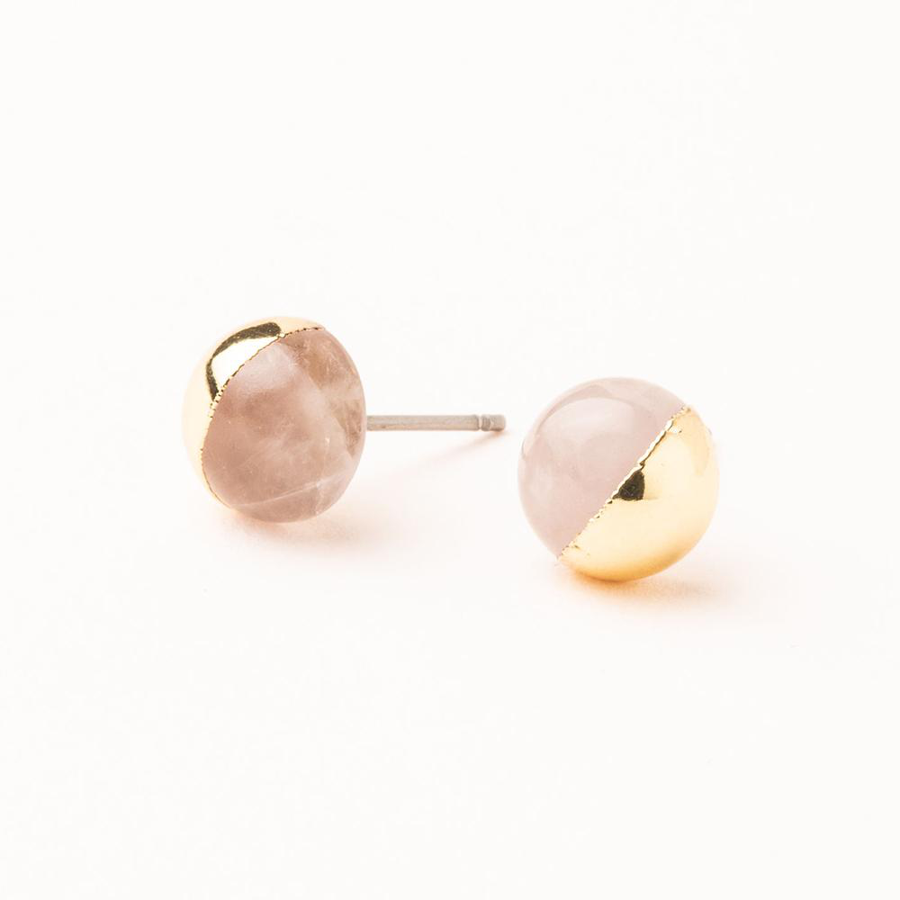 Image For Scout Curated Wears - Stone Stud - Rose Quartz and Gold