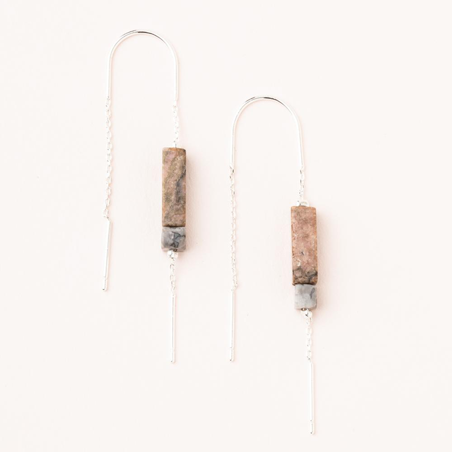 Image For Scout Curated Wears - Rectangle Earrings - Rhodonite