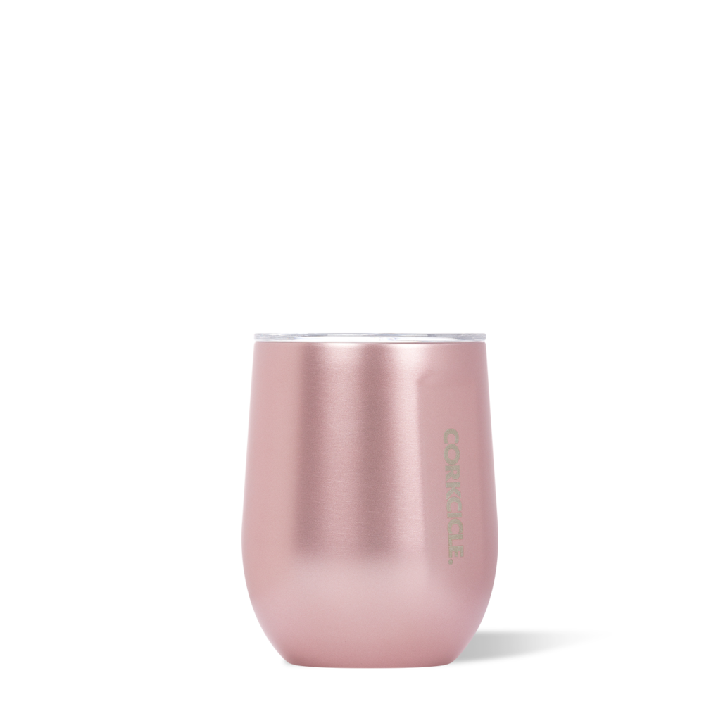 Image For Corkcicle - 12 oz. Stemless Wine - Rose Metallic