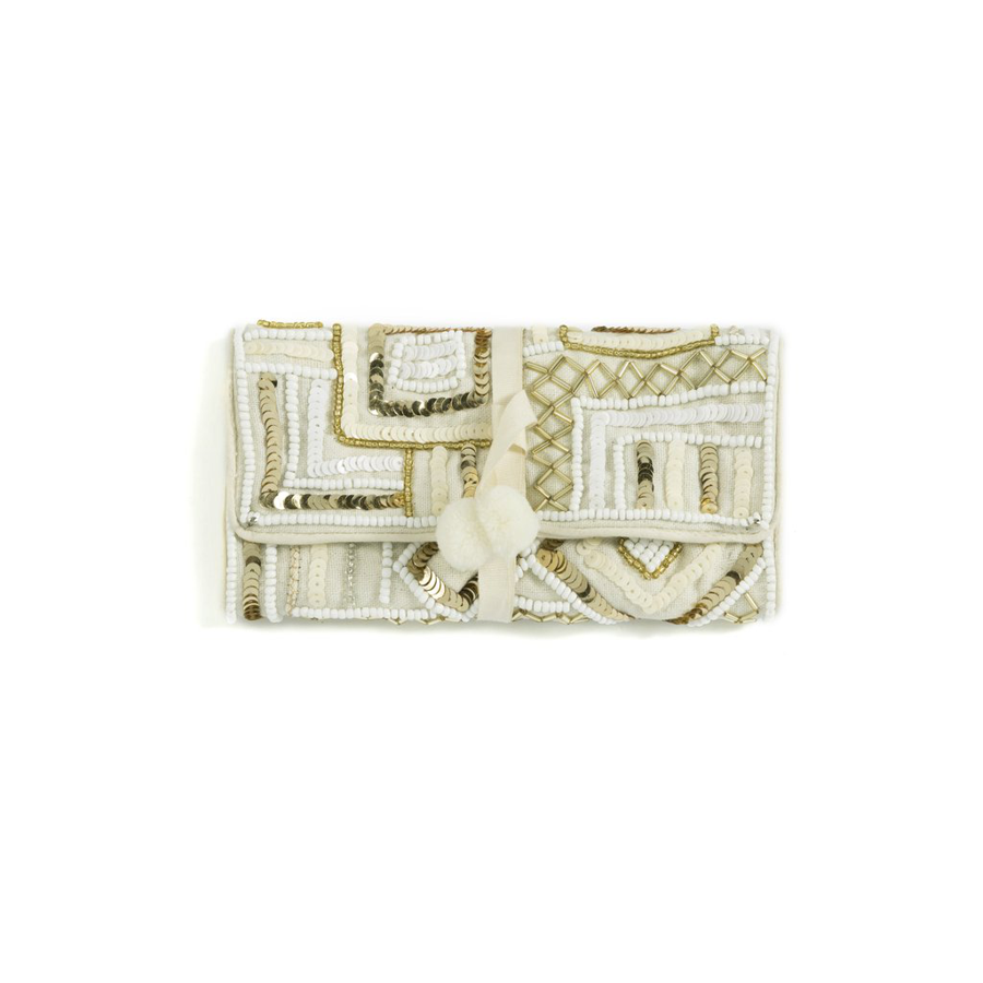 Image For Shiraleah - Vivi Jewelry Pouch - Ivory