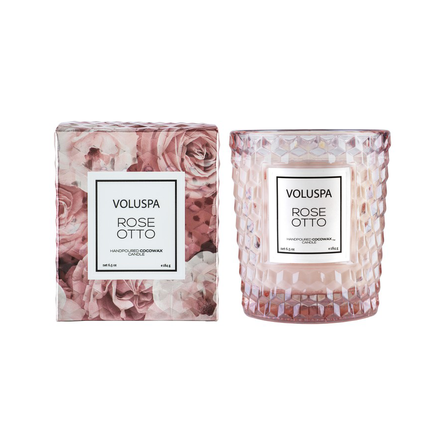 Image For Voluspa - Textured Glass Candle - Rose Otto