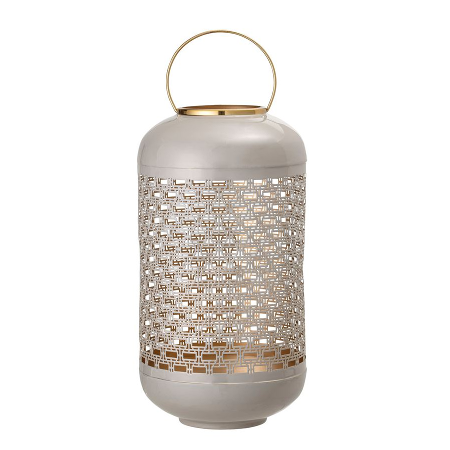 Image For Bloomingville - Enamel Punched Metal Lantern - Light Grey