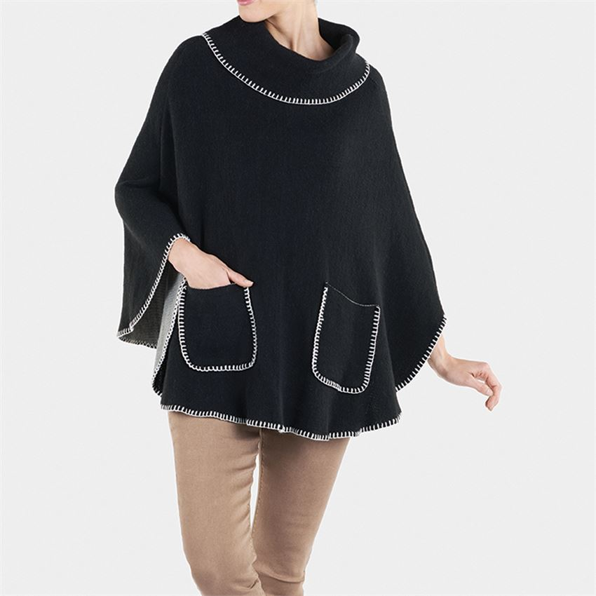 Image For Coco + Carmen - Poncho - Black and White