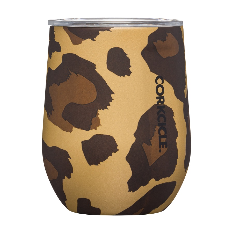 Image For Corkcicle - 12 oz. Stemless Wine - Luxe Leopard