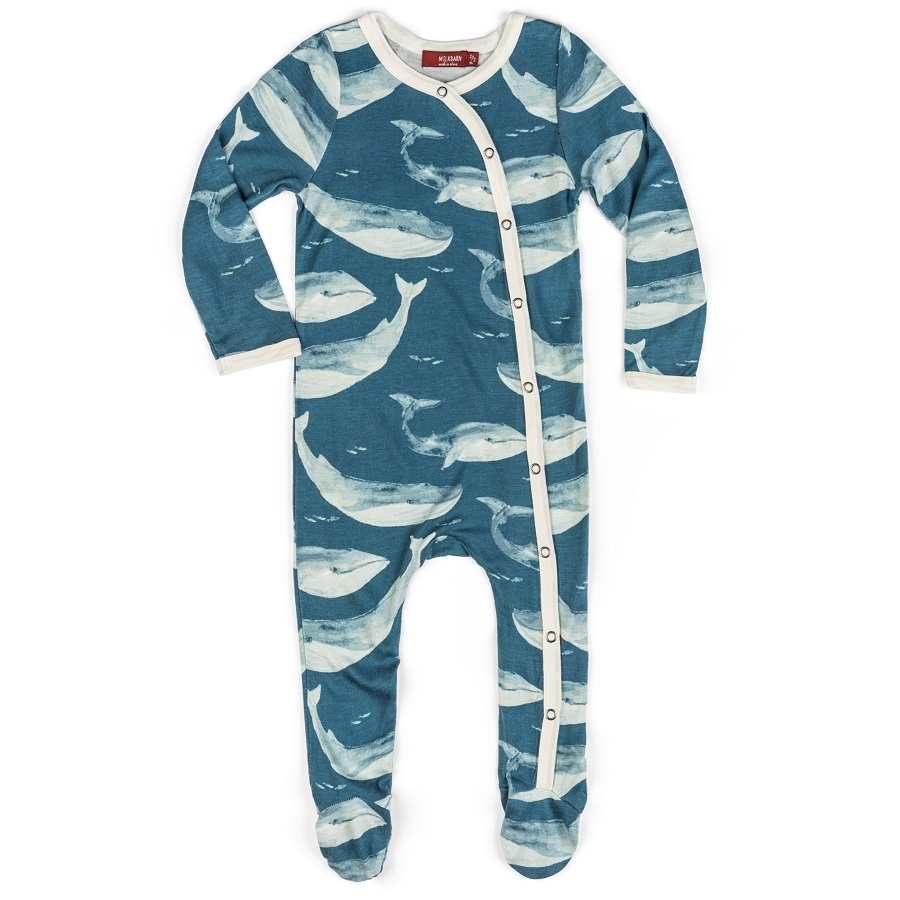 Image For Milkbarn – Footed Romper – Blue Whale 3-6 Months