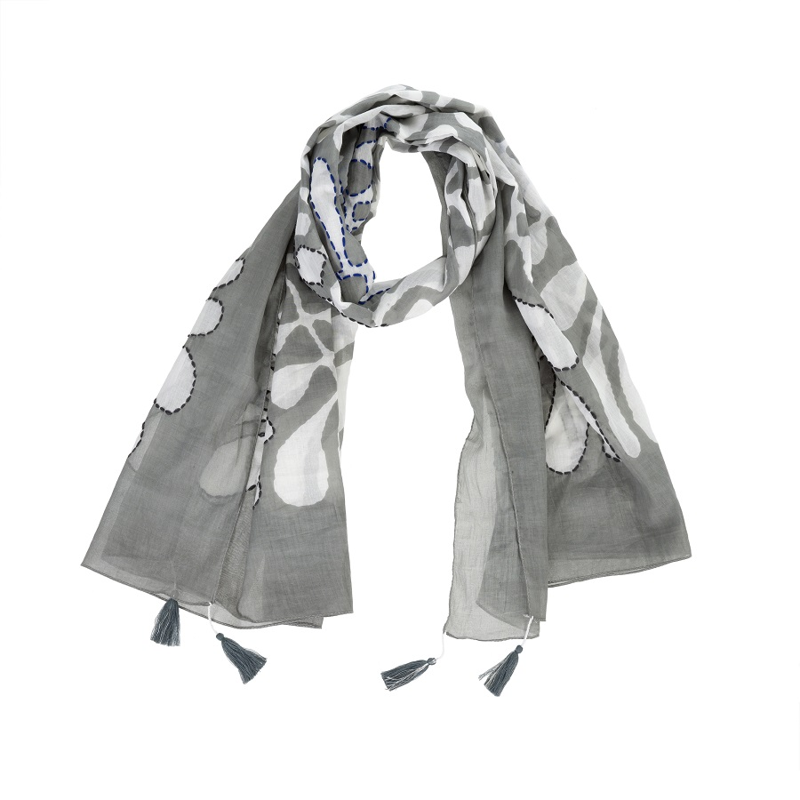 Cover Image For Indaba – Scarf – Palms Grey