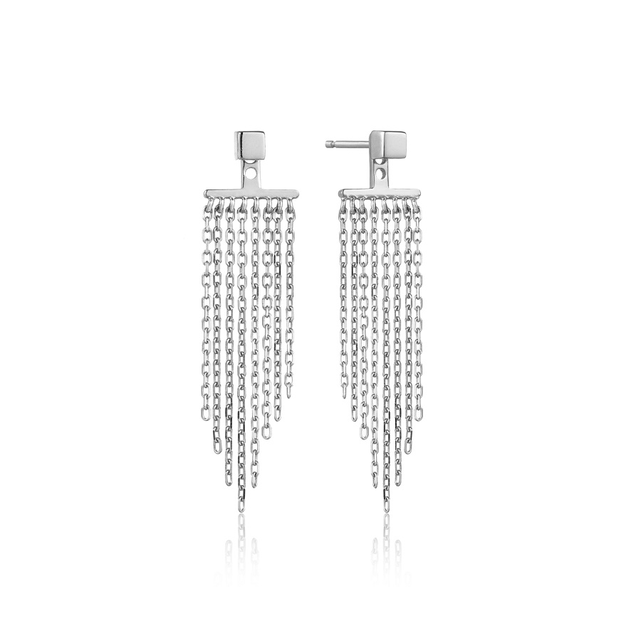 Image For Ania Haie - Earrings - Fringe Fall Ear Jackets - Silver