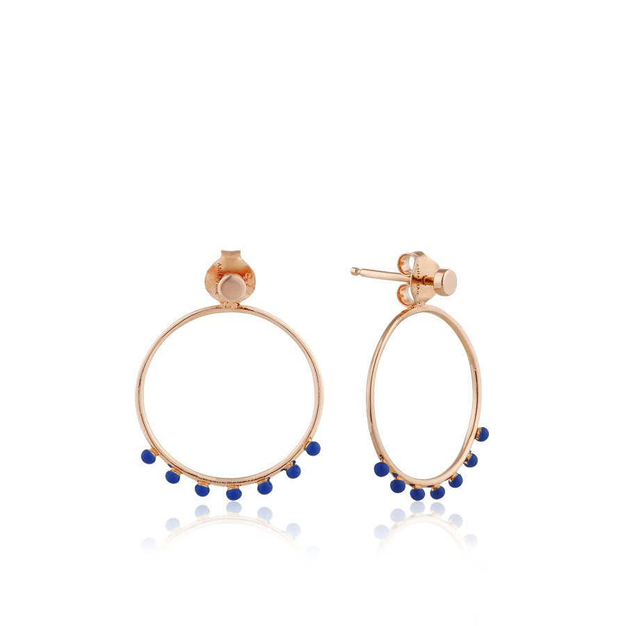 Image For Ania Haie - Earrings - Dotted Front Hoop - Rose Gold