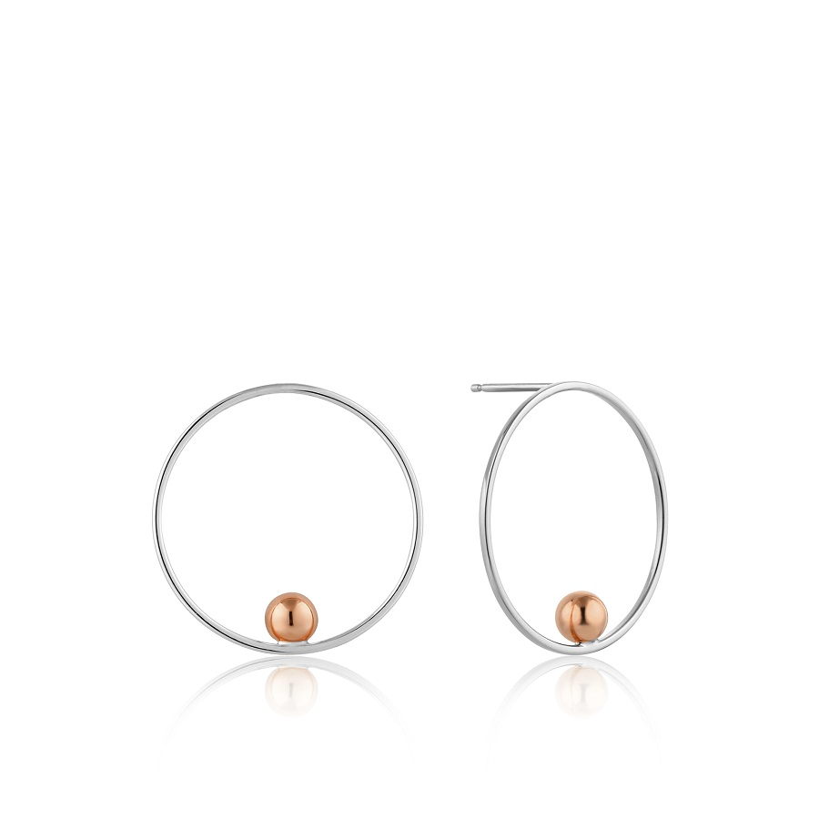 Image For Ania Haie - Earrings - Orbit Front Hoop - Silver