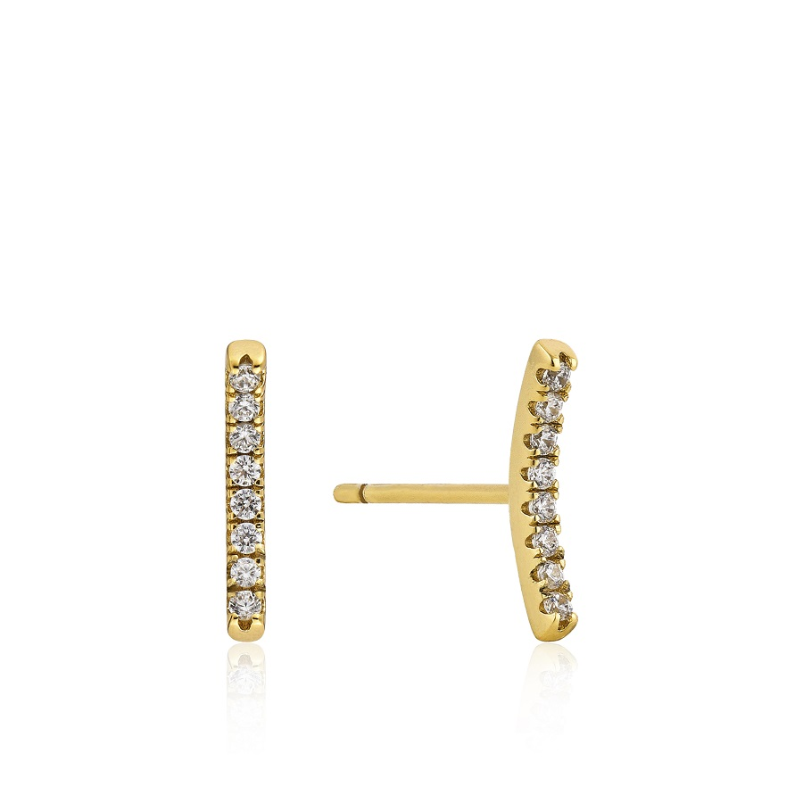 Image For Ania Haie - Earrings - Shimmer Pave Bar - Gold