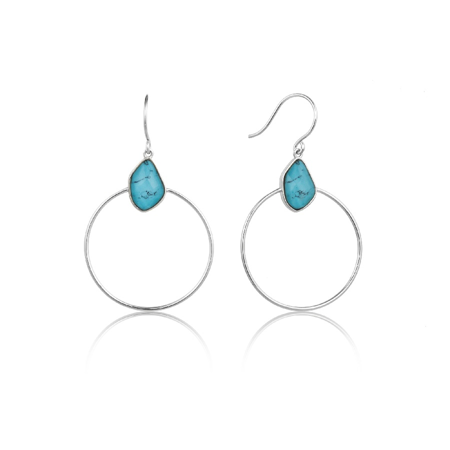 Image For Ania Haie - Earrings - Turquoise Front Hoop - Silver