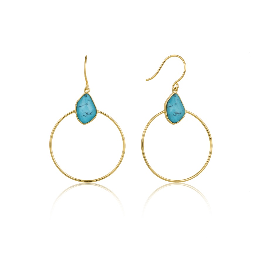 Image For Ania Haie - Earrings - Turquoise Front Hoop - Gold